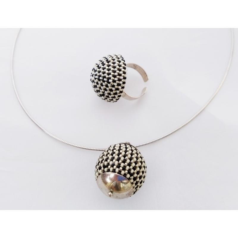 GÖMB ezüst nyaklánc, fülbevaló és gyűrű szett